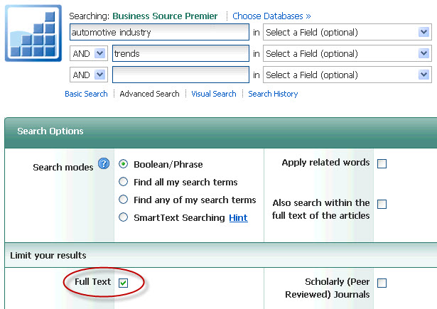 screenshot of an industry search in Business Source Premier